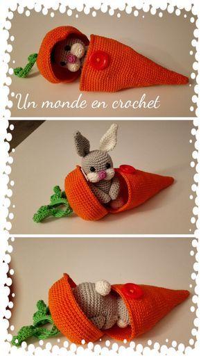 Tutoriel de 12 pages, en français, pour réaliser ce petit lapin dans sa carotte, il aime sy cacher ou cacher ses gourmandises !! Bon crochet Lidia
