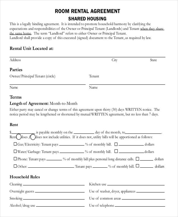 Rent Lease Apartment: Room Rental Agreement Doc