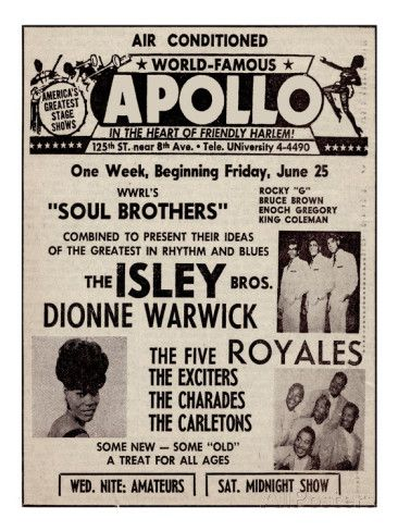 Apollo Theatre Ad: Soul Brothers, Isley Brothers, Dionne Warwick, Five Royales, Charades, Carletons Giclee Print at AllPosters.com
