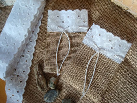 Set of 10 Rustic Linen Burlap Gift Bags  Small Size by MilaStyle, $25.00
