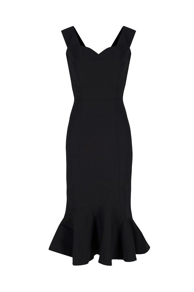 Collectif Black Fishtail Wiggle Dress