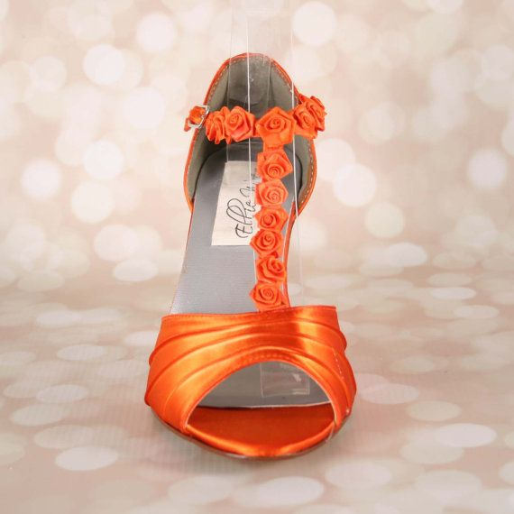 Orange Wedding Shoes Wedding Sandals by EllieWrenWeddingShoe