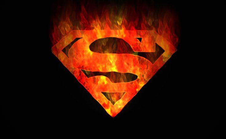Flaming Superman Logo HD Wallpaper
