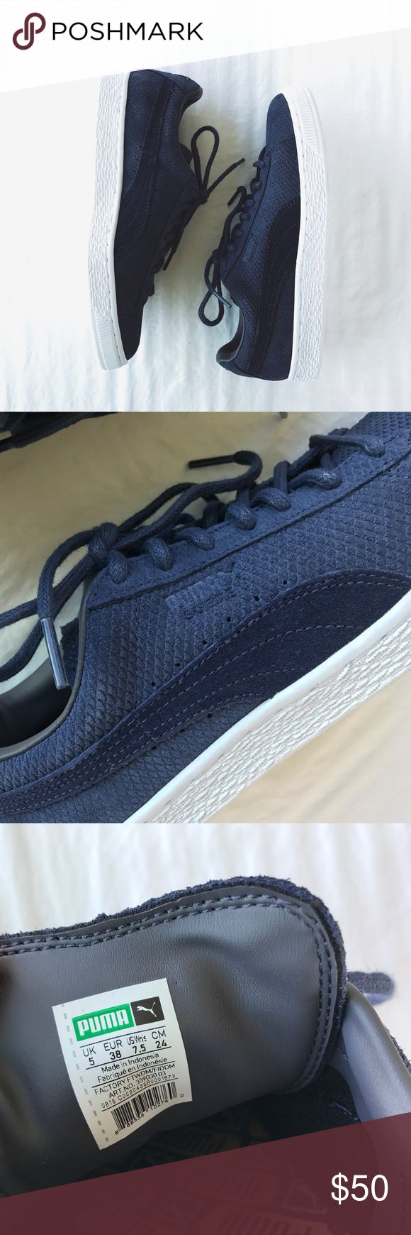 Puma Navy Suede Classic Lo Winterized Sneakers •Diamond shape navy suede sneakers.    •Women's size 7.5. True to size but best for a narrow-normal width foot.  •New in box (no lid).  •NO TRADES/HOLDS/PAYPAL/MERC/VINTED/NONSENSE. Puma Shoes Sneakers