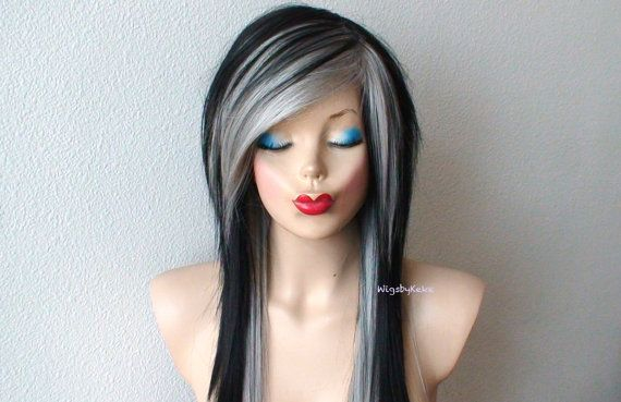 Wigs by Keke -- 2015  Color : Gray / Black Style: Long Straight hair with long side bangs with razor cut Part: Circle center part Length: 26 Cap size: Average 22.5 in circumference, can be adjusted to 22-23 Hair type: Premium Futura Heat resistant synthetic hair  *** The hairstyle in the picture has no hairspray / gel involved, it was simply hand cut/ craft that way and it is READ-TO- WEAR. Special Features: Very natural looking hair texture Heat friendly fiber allows you to style the hair…