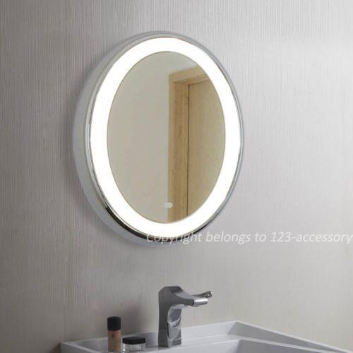 Modern Round LED Illuminated Bathroom Mirror IR Sensor