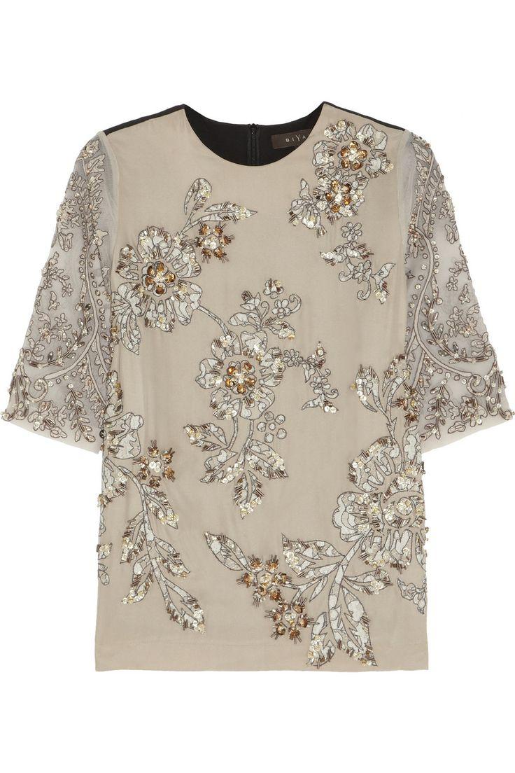 Biyan | Jane embellished silk-blend top | NET-A-PORTER.COM