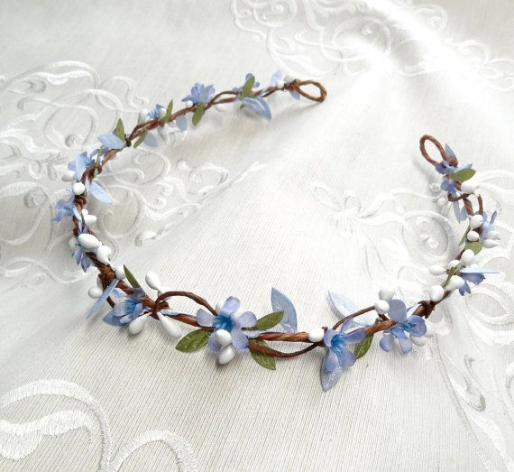 blue flower crown, blue headband, blue flower girl, blue hair flower, bridal flower crown, bridal hair vine, bridal headpiece, forget me not
