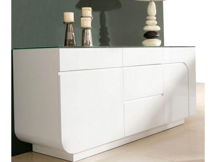 Buffet BRADY - MDF laqué blanc & verre trempé - 2 portes & 4 tiroirs