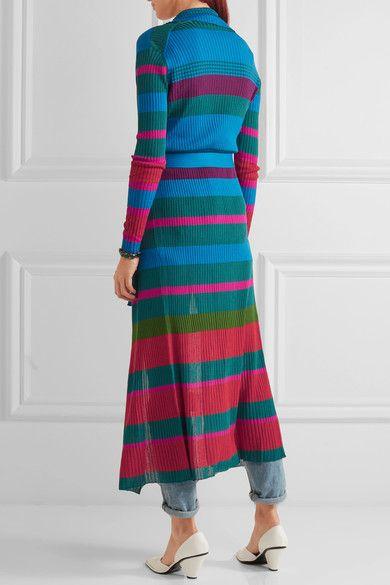Etro - Striped Ribbed-knit Cardigan - Blue - IT48