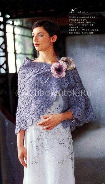 Накидка-шаль   Вязание для женщин   Вязание спицами и крючком. Схемы вязания.