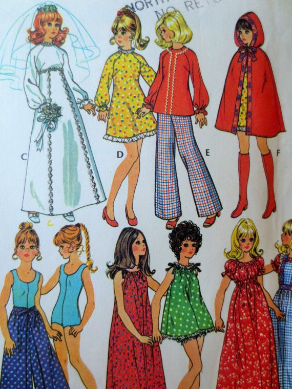 Vintage McCall's 3429 Sewing Pattern, Barbie Clothes, 1970s Doll Clothes, Doll Wardrobe, Teen Doll Fashion, 11.5 Inch Doll, Vintage Sewing