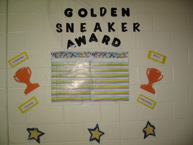 Title of Bulletin Board: Golden Sneaker award  Category: Behavior Incentives  Suggested Grade Level: 3-5  Materials: Cut out letters, cut out stars, stickers, sticker charts, and velcro  Description:  As an incentive, students are given the chance to earn a sticker each week they come to PE. If students demonstrate the school's codes of conduct[ cooperation, respect, responsibility,and citizenship] the class will earn a sticker for that week. The class that has the most stickers…