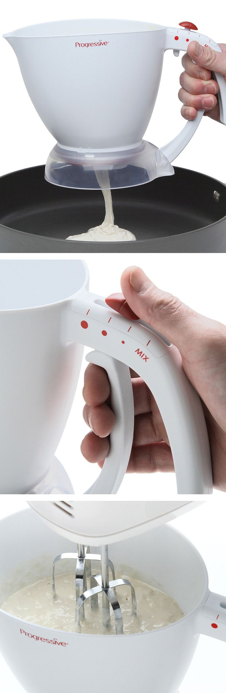 Pancake batter dispenser // beat in the jug, choose your pancake size, and release the batter! Genius! #product_design #kitchen #gadget