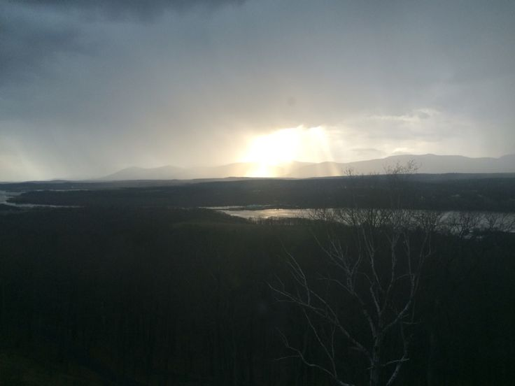 Storm clouds rolling in to the Hudson Valley at sunset.