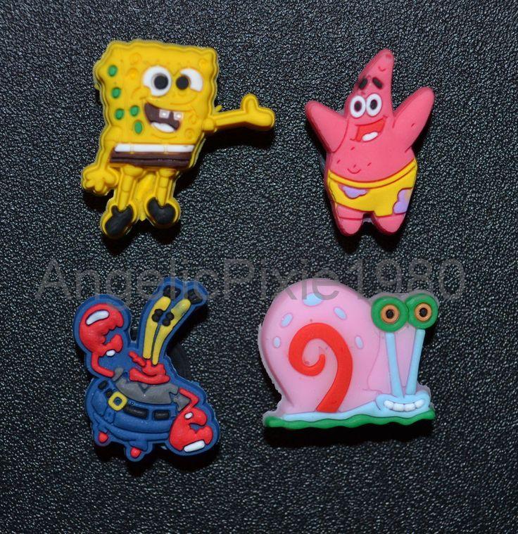 4pc Spongebob Squarpants SHOE CHARMS Fit Wristbands & Crocs USA SELLER in Shoe Charms, Jibbitz | eBay