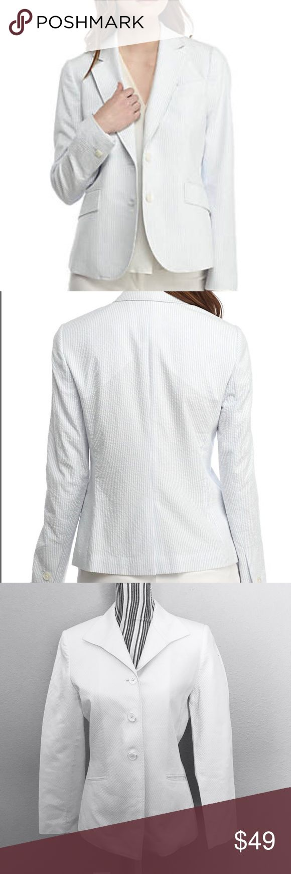 Anne Klein Double Button Seersucker Jacket Size 6 Anne Klein Double Button Seersucker Blazer Jacket White Size 6  Armpit to armpit: 19in  Shoulder to shoulder: 16in  Length: 26in  All items are in EXCELLENT USED CONDITION.  I strive to provide quality items and excellent customer service. Feel free to contact me with any questions! New items added daily so follow me to keep up with the great deals!  Thank you!  ITEM A32 Anne Klein Jackets & Coats Blazers