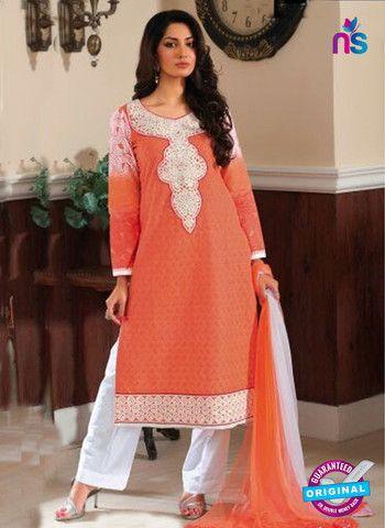 Rivaa14706B - Orange & White Color Cotton Designer Suit