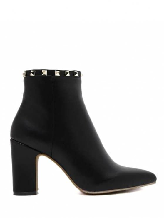 Pointed Toe Rivet Chunky Heel Boots - Black 38 #Shoproads #onlineshopping #Formal Shoes