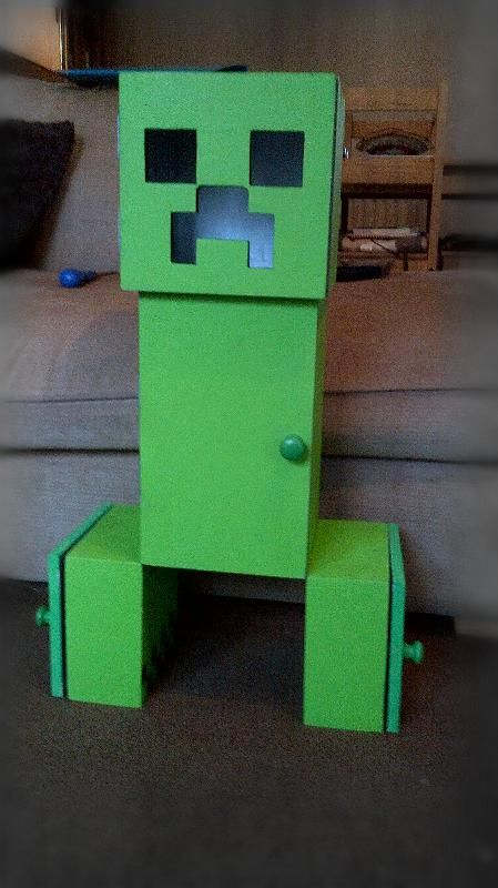Mdf Minecraft Creeper Spray Painted Storage Solution I