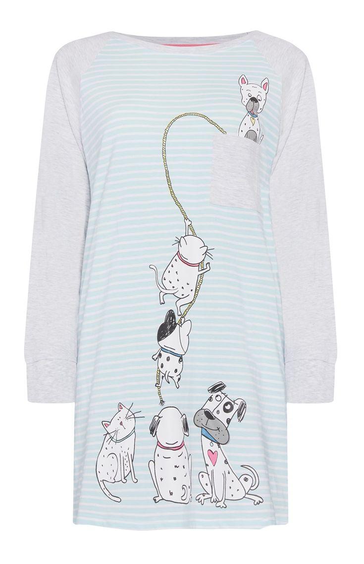 Primark - Camisola pijama às riscas turquesa