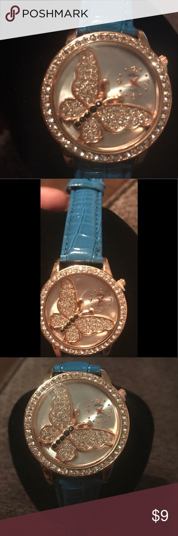 ❤️Fashion Woman Blue Watch with Gold Butterfly 🦋 NWOT!  Cute adorable Fashion Woman Blue watch with Gold Design Butterfly inside,  time is in the upper right corner, Very cute and stylish, Never Worn, ONE SIZE FITS ALL! Accessories Watches
