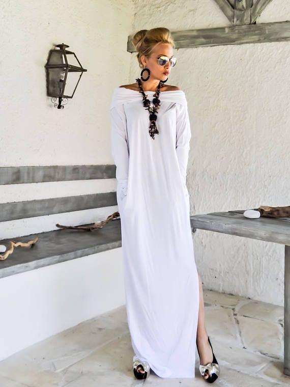 White Maxi Long Sleeve Turtleneck Dress with pockets / White