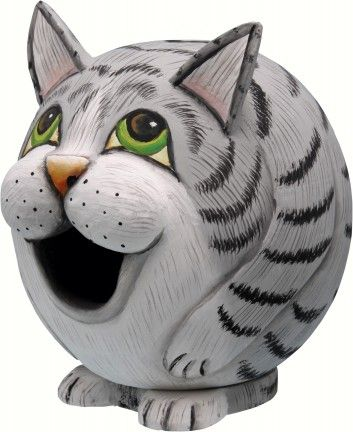 Grey Tabby Cat Gourd Shaped Birdhouse. Free Shipping.