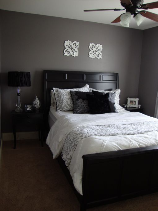 Love the dark grey on the walls with the white trim.   Would look perfect with my purple/grey/black bedroom!!