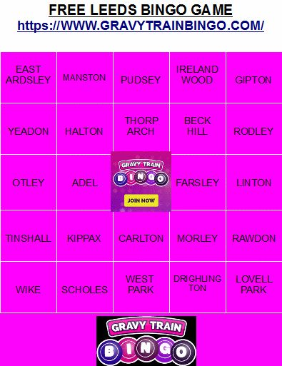 Gravy Train Bingo at https://www.GravyTrainBingo.com: Free Leeds Bingo Game! Print to Play