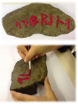 """PY 4 - Uke 38; Elevene i 4.klasse har vært ute og funnet stein de kan male på. Vi har øvd oss på runeskrift og laget noen flotte """"vikingsteiner"""":)"""