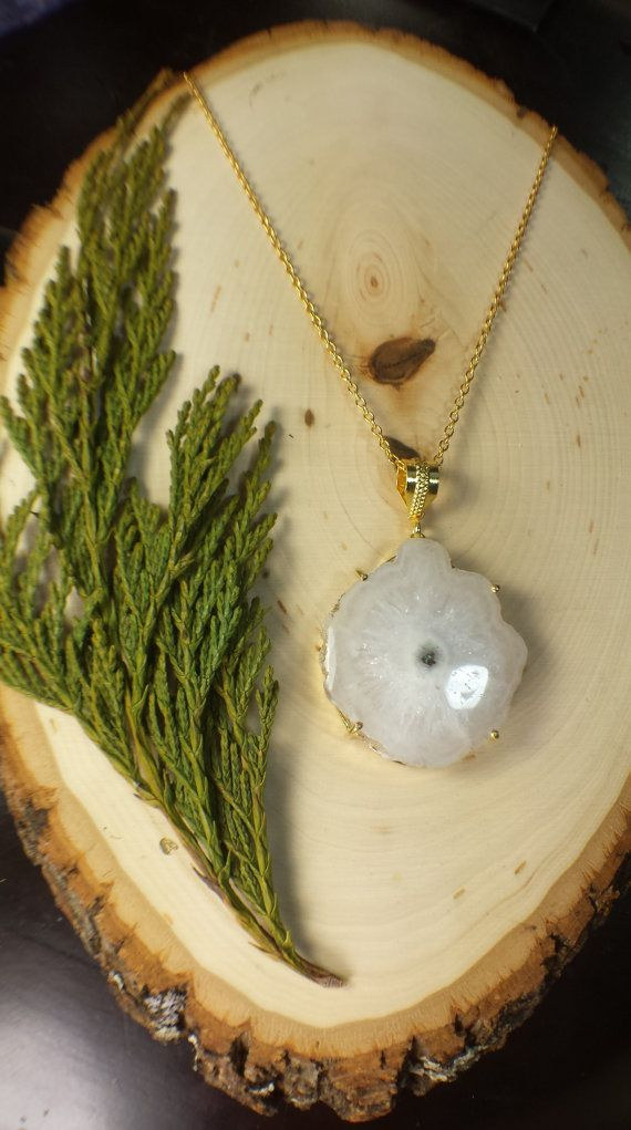 Large White eye Solar Quartz Necklace Geode Slice by WildFernArt