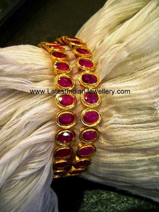 Precious gold and ruby bangles
