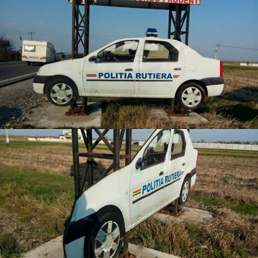 .Traffic police watching over road safety in Romania. It's funny, but remember, that always it can be a cop hiding in bushes with a radar. Romanian traffic police motto: we are not doing prevention, we make money by any mean.