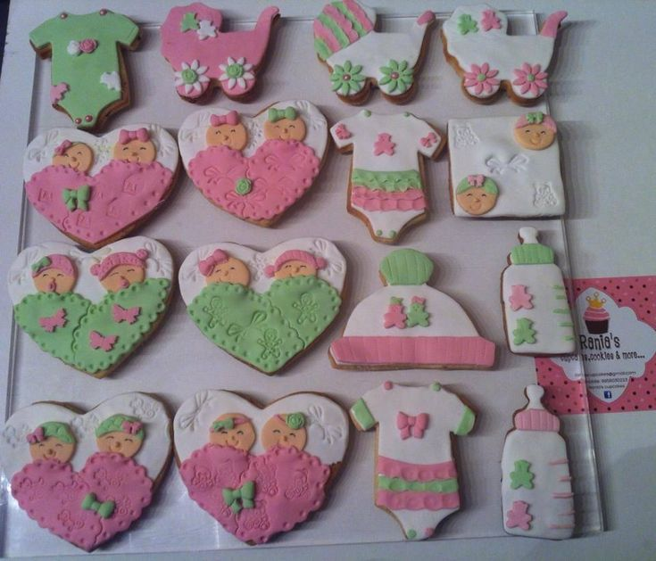 twins baby shower cookies