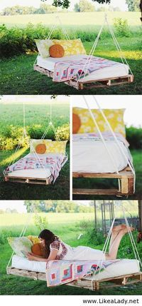 Hanging pallet bed - Cheaper than a new bed frame! Just staple fabric to the wood to cover up the pallets.