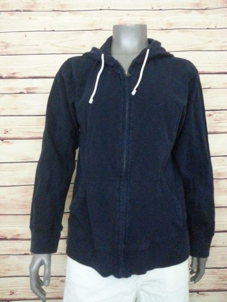 J.CREW womens full zip cotton hoodie ringspun jersey casual size Medium #JCREW #Hoodie