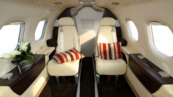 Embraer Phenom 100e jet interior.