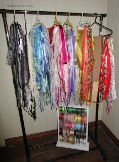 BaRb'n'ShEllcreations  - Shell's Storage - Ribbons on baby hangers on a clothes rack