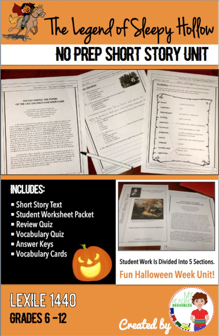 the legend of sleepy hollow halloween short story unit for grades 6 12 - Halloween Short Stories Middle School