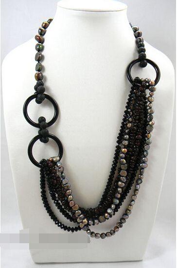 Livraison gratuite > > > 24 '' noir d'eau douce perle Baroque Volcano Lava Agate collier