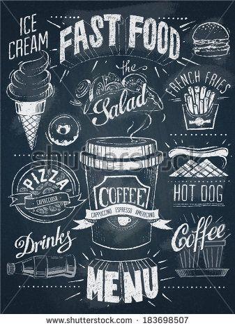 Fast food chalkboard design set - stock vector