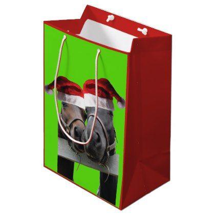 2 Cute Horses Wearing Santa Claus Hats Medium Gift Bag - craft supplies diy custom design supply special