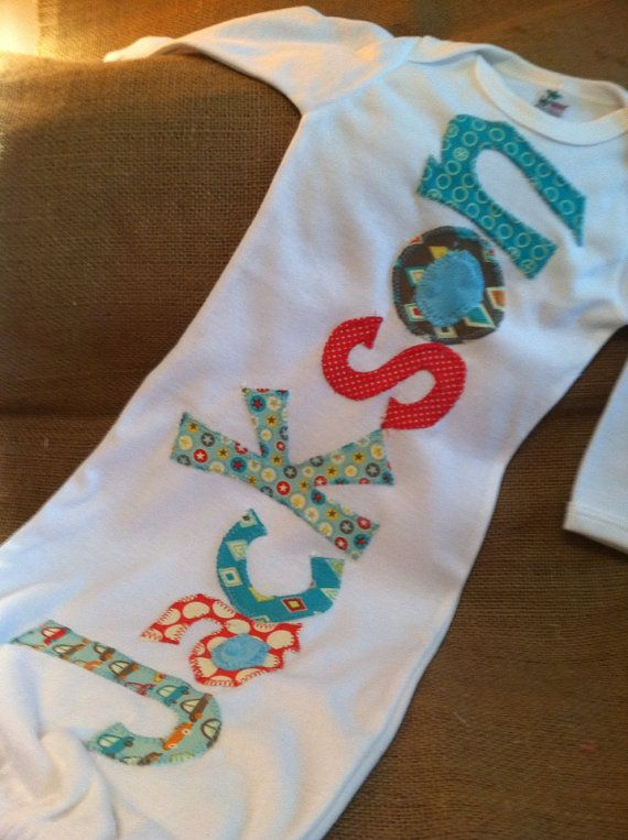 Personalized appliqué infant baby boy name gown on Etsy, $28.00