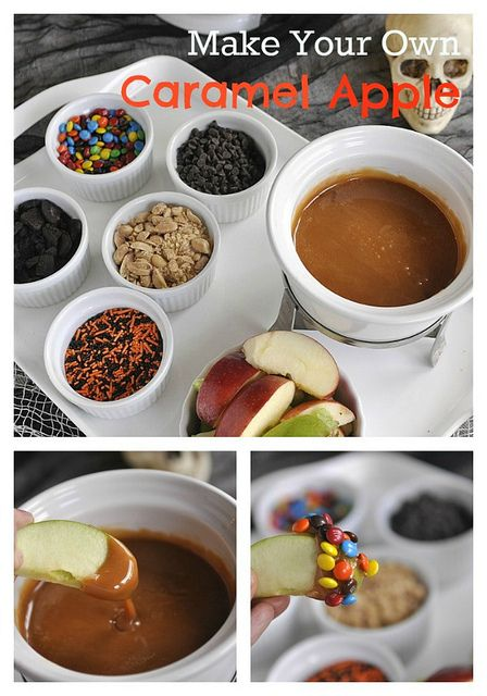 Caramel Apple Bar ~ Really love this idea although I think it might be best to put to put those apple slices on a stick and add little spoons to the topping bowls!