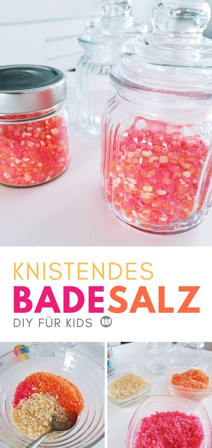 DIY Kinder Badesalz Rezept. Anleitung für Knister-Badesalz zum selbermachen fü…