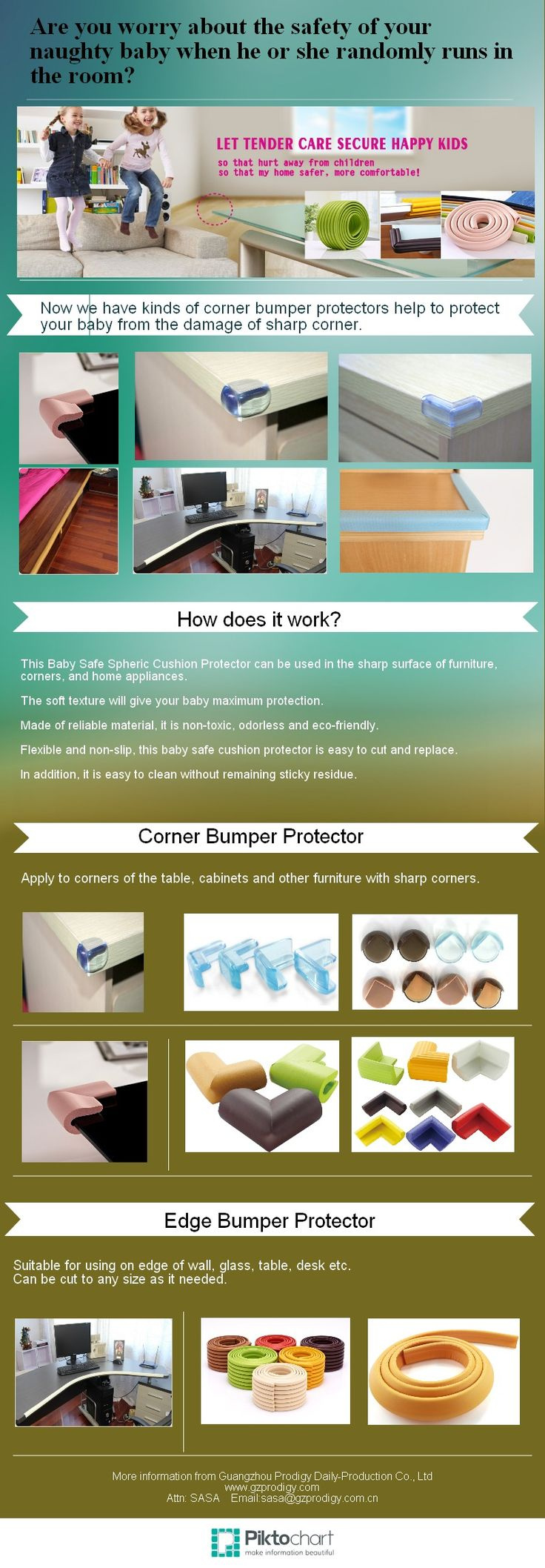 #BabySafety infographic of corner protector to secure children from injuries, Never a bump on toddlers' forehead, no risk of disfigured.