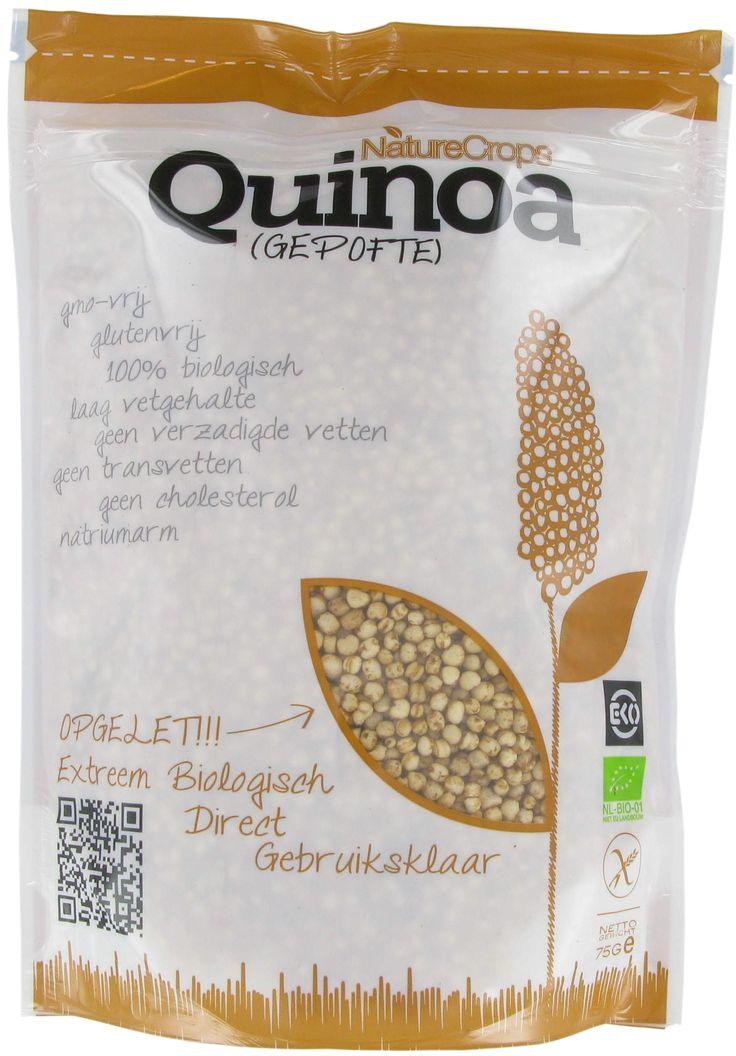 Nature Crops Gepofte Quinoa 75 gram Glutenvrije en biologische gepofte quinoa. Quinoa is een van oorsprong Zuid-Amerikaanse plant. De zaden van de quinoa plant kunnen als graan worden gebruikt, hoewel het geen echt graan is (quinoa is glutenvrij). Quinoa heeft een lage glycemische index, bevat veel eiwitten en is een goede bron van voedingsvezels en …