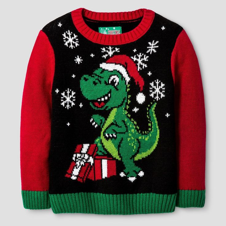 Ugly Christmas Sweater Toddler Boys' Dinosaur Sweater