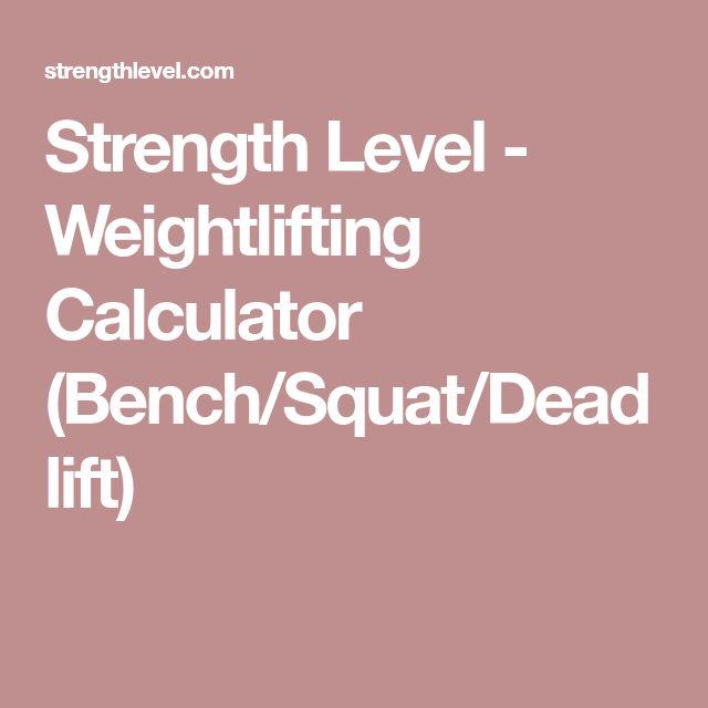 Strength Level - Weightlifting Calculator (Bench/Squat/Deadlift)